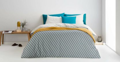 An Image of Prism Cotton Duvet Cover + 2 Pillowcases, King, Teal Grey UK