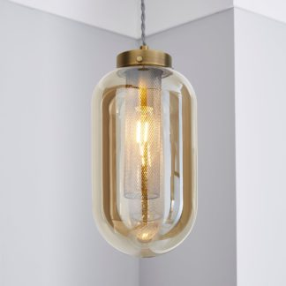 An Image of Safi Mesh 1 Light Pendant Ceiling Fitting Antique Brass Antique Brass