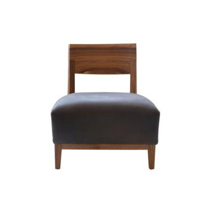 An Image of Riva 1920 Wilma Chair Walnut Black Utah Leather