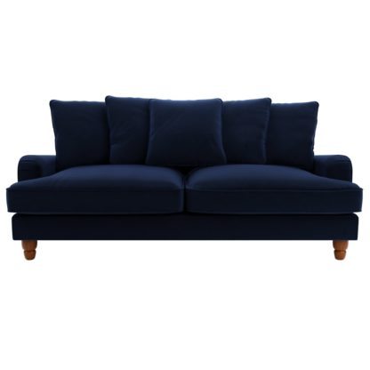 An Image of Beatrice Velvet Scatter Back 3 Seater Sofa Bottle (Green)