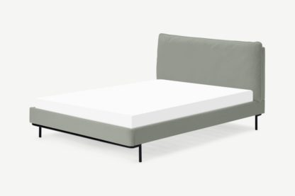 An Image of Harlow King Size Bed, Sage Green Velvet