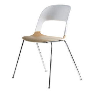 An Image of Fritz Hansen Pair Chair White and Oak Seat Chrome Legs