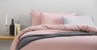 An Image of Brisa 100% Linen Pair of Pillowcases, Dusky Pink UK