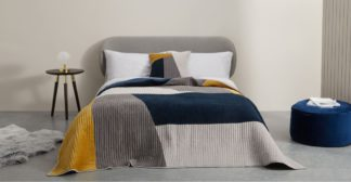 An Image of Giacomo Quilted Velvet Bedspread, Navy & Tan