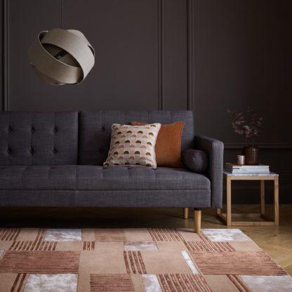 An Image of Ryo Wool Mix Rug Orange, Brown and White