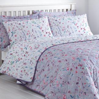 An Image of Botanical Meadow Floral Purple Bedspread Purple