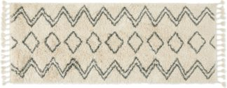An Image of Caram Berber Style Runner, 80 x 200cm, Off White & Charcoal Grey