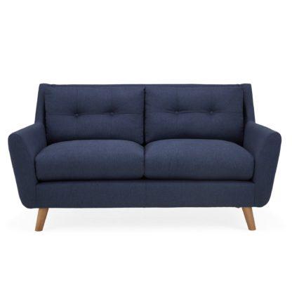 An Image of Halston Fabric 2 Seater Sofa Black