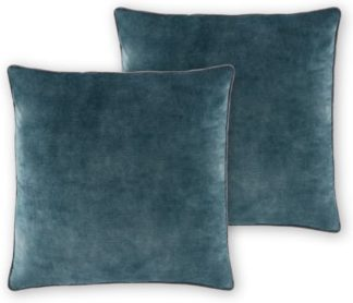 An Image of Castele Set of 2 Luxury Velvet Cushions, 50x50cm, Teal with Grey Piping