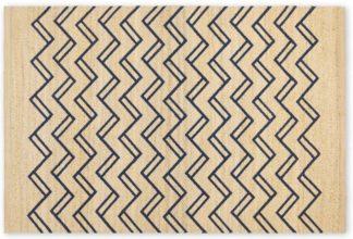 An Image of Elian Printed Jute Rug, Medium 140 x 200cm, Natural/Midnight Blue