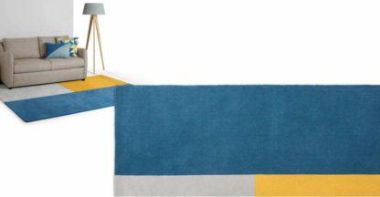 An Image of Elkan Tufted Wool Rug, Large 160 x 230cm, Block Blue