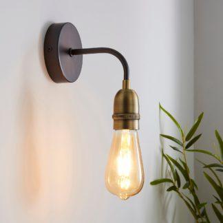 An Image of Marsden Antique Brass Industrial Wall Light Brass Nickel