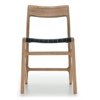 An Image of Gazzda Fawn Dining Chair Oak & Black Webbing
