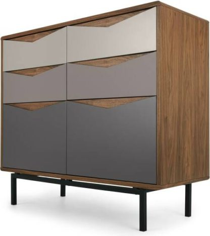 An Image of Louis Wide Chest Of Drawers, Walnut & Warm Neutrals