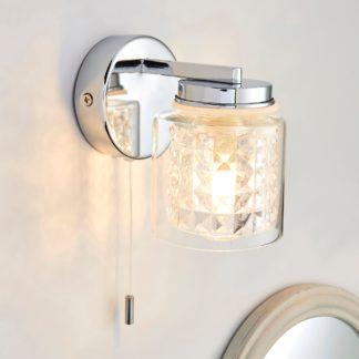 An Image of Hylton Glass Bathroom Wall Light Chrome