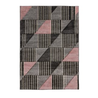 An Image of Velocity Geometric Rug Pink, Grey and Black