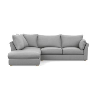An Image of Heal's Tailor Left Hand Facing Corner Sofa Cotton Pewter Natural Feet