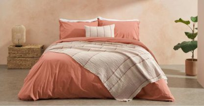 An Image of Sena Organic Cotton Stonewashed Duvet Cover + 2 Pillowcases, Double, Burnt Coral Uk