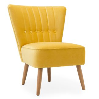 An Image of Isla Velvet Cocktail Chair - Citrus Yellow