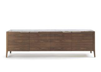 An Image of Porada Atlante 4 Sideboard Walnut & Calacatta Oro Marble