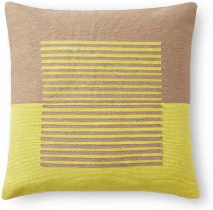 An Image of Botta Woven Block Stripe Cushion 45 x 45cm, Chartreuse Yellow & Dusty Nude