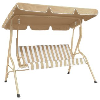 An Image of Striped 2 Seater Beige Swing Bench Natural
