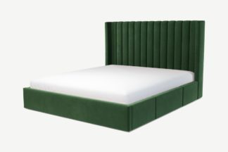 An Image of Custom MADE Cory Super King Size Bed with Drawer Storage, Lichen Green Cotton Velvet