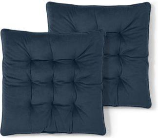 An Image of Julius Set of 2 Velvet Seat Pads, 40x40cm, Ink Blue