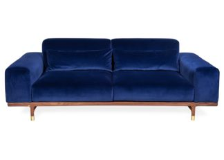 An Image of Porada Argo 2 Seater Sofa Dark Blue Velvet Walnut Brass Feet