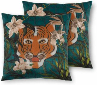 An Image of Beatrice Set of 2 Velvet Printed Cushions, 45 x 45cm, Tiger Multi