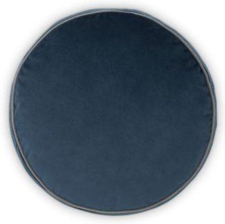 An Image of Julius Round Velvet Cushion, 45cm diam, Ink Blue