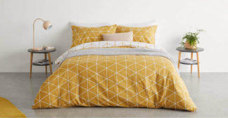 An Image of Karta Cotton Duvet Cover + 2 Pillowcases King, Mustard Yellow UK
