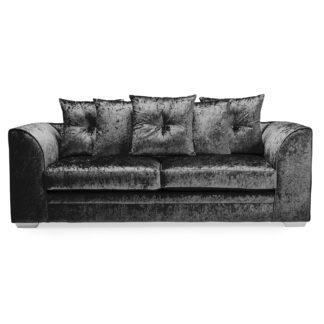 An Image of Blake Crushed Velvet 3 Seater Sofa Black