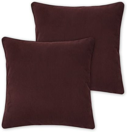 An Image of Selky Set of 2 Reversible Corduroy Cushions, 50 x 50cm, Rose Pink & Burgundy
