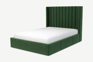 An Image of Custom MADE Cory Double Bed with Drawer Storage, Lichen Green Cotton Velvet