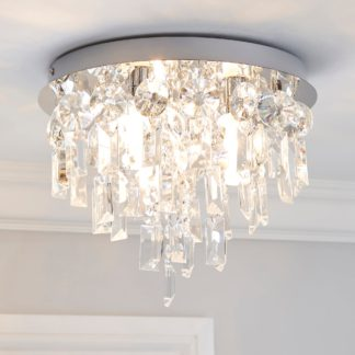 An Image of Bel Air 3 Light Glass Bathroom Flush Ceiling Fitting Clear