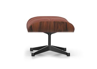 An Image of Vitra Classic Eames Lounge Ottoman in Santos Palisander & Brandy Leather