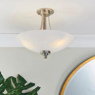An Image of Endon Welles 3 Light Semi Flush Ceiling Fitting White