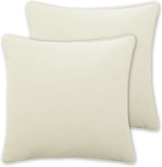 An Image of Julius Set of 2 Velvet Cushions, 45 x 45cm, Pale Taupe