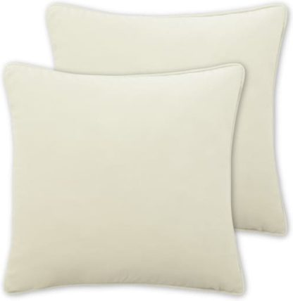 An Image of Julius Set of 2 Velvet Cushions, 59 x 59cm, Pale Taupe