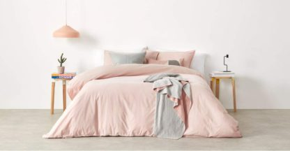 An Image of Alexia Stonewashed Cotton Duvet Cover + 2 Pillowcases, King, Pale Blush UK