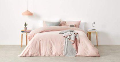 An Image of Alexia Stonewashed Cotton Duvet Cover + 2 Pillowcases, Double, Pale Blush UK