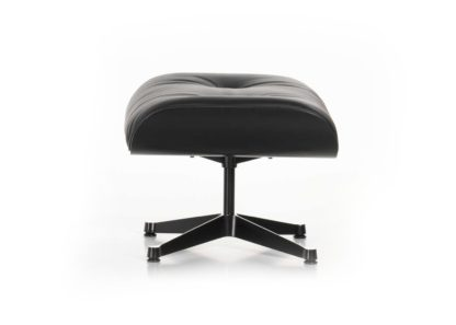 An Image of Vitra Tall Eames Lounge Ottoman in Black Ash & Black Leather