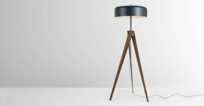 An Image of Madison Tripod Floor Lamp, Navy Blue and Dark Wood