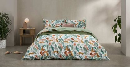 An Image of Akey Cotton Duvet Cover + 2 Pillowcases, King, Multi