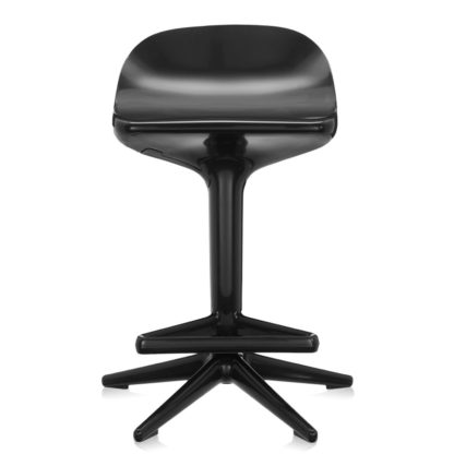 An Image of Kartell Spoon Bar Stool In Black