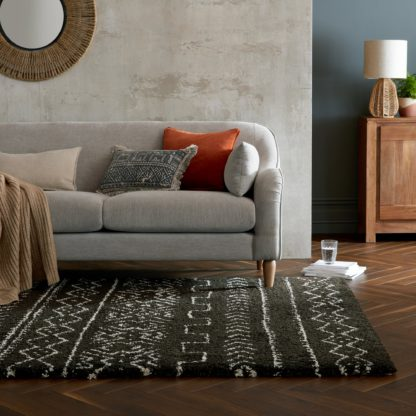 An Image of Dishna Berber Rug Black and white