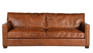 An Image of Timothy Oulton Viscount William 3 Seater Sofa Old Saddle Leather Nut