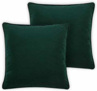 An Image of Julius Set of 2 Velvet Cushions, 45 x 45cm, Forest Green