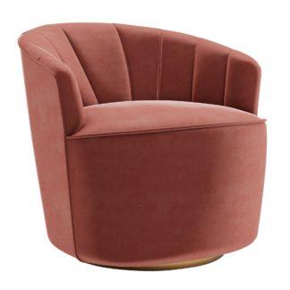 An Image of Matilda Eco Velvet Swivel Chair Rose (Pink)